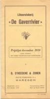 Prijslijst Liste Des Prix - Likeurstokerij De Gaverrivier - G. D'Heedene & Zonen - Waregem 1959 - Zonder Classificatie