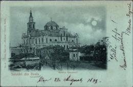 !  Alte Mondschein Ansichtskarte Salutari Din Braila, Biserica Greceasca, 1899, Rumänien - Romania