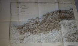 Carte Géographique Ancienne Algerie Militaria Dressé Au Dépôt De La Guerre 1876 Fin 19ème - Carte Geographique