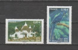 FRANCE / 2014 / Y&T SERVICE N° 161/162 ** : UNESCO (Trulli D'Alberobello & Ara Hyacinthe) - Gomme D'origine Intacte - Nuevos