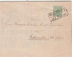 Allemagne Lettre Imprimé Entête Weinbau Congress Cachet CARLSRUHE 2 18/8/1877 à Gebweiler Alsace - 4 Scan - Covers & Documents