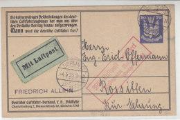 Privatganzsache Mit 20Pf Holztaube Mit Luftpost Aus BERLIN 4.5.25 Nach Rossitten - Briefe U. Dokumente