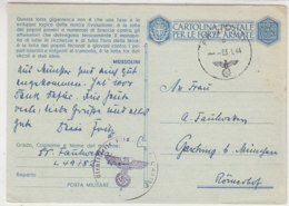 Feldpostkarte Mit Propadandaspruch Von Mussolini 3.1.44 Athen? (Griechenland) - Briefe U. Dokumente