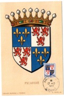 HERALDIQUE = 80 AMIENS 1953 = CARTE MAXIMUM +  N° 951 ARMOIRIES PICARDIE - Cartes-Maximum