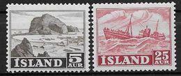 Islande 1954 N° 254/255  Neufs ** MNH Série Courante, Paysage Et Bateau - Neufs