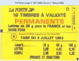FRANCE - Carnet Conf. 6, Numéro 756581 à Gauche - TVP Briat Rouge - YT 2806 C1a / Maury 498a - Usage Courant