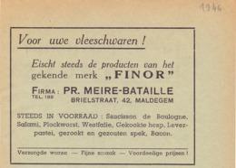 Pub Reclame - Vleeswaren Finor - Firma Pr. Meire - Bataille - Maldegem 1946 - Zonder Classificatie