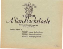 Pub Reclame - 't Beertje - A. Van Bockstaele - Brugge 1946 - Zonder Classificatie