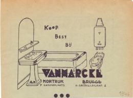 Pub Reclame - Sanitair , Vanmarcke - Kortrijk - Brugge 1946 - Zonder Classificatie