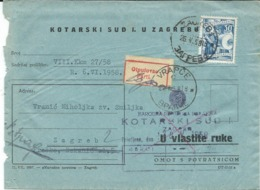 Yugoslavia.Croatia.- Kotarski Sud U Zagrebu Via Vrapce Village 1958 ( Parti Label ) - Storia Postale
