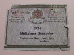 Mülheimer Sonnelay ( 1934er ) Rüdesheim A Rh. ( Carl Klos'sche ) Etiket / Etiquette / Label ( > Photo > DETAIL ) ! - Etiquettes