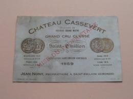 Chateau CASSEVERT 1959 ( Jean NONY Saint Emilion / Gironde ) Etiket / Etiquette / Label ( > Photo > DETAIL ) ! - Etiquettes