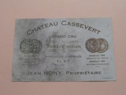 Chateau CASSEVERT 1947 ( Jean NONY Saint Emilion / Gironde ) Etiket / Etiquette / Label ( > Photo > DETAIL ) ! - Etiquettes