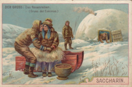Chromo Saccharin Sucre Deutschland Der Gruss Le Bonjour Salut Chez Les Esquimaux Eskimos - Autres
