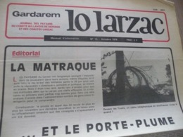 Journal Larzac Défense Du Larzac Gardarem  Lo Larzac N°15 Octobre 1976 - Languedoc-Roussillon