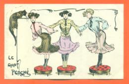"""CPA Illustrateur à Identifier """" Le Chat Perché """" Femmes En Robes - Postcards"""