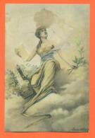 """CPA Art Nouveau Illustrateur Louise Abbema  """" Femme Et Une Lyre """" - Illustrators & Photographers"""