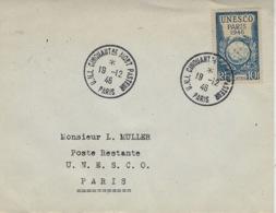 1946- Enveloppe Affr. 10 F Unesco Oblit. Cad U.N.I. CINQUANTre NIORT PASTEUR - 1921-1960: Modern Period
