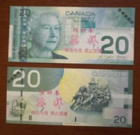 (Replica)China BOC Bank Training/test Banknote,Canada Dollars C-2 Series $20 Note(deep Green) Specimen Overprint - Canada