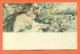 """CPA Art Nouveau Illustrateur Gaston Gérard """" Femme Cueillant Des Fleurs """" - Illustratori & Fotografie"""