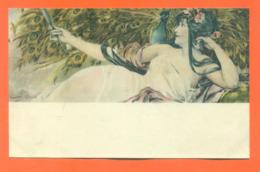 """CPA Art Nouveau Illustrateur Gaston Gérard """" Femme Et Un Paon """" - Illustratori & Fotografie"""