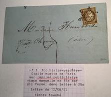 Cérès 1850 10c Yv 1a IMPRIMÉ TAXÉ 15c Lettre PARIS 1852 > Chauny, Aisne, Signé Scheller (France Cover Postage Due) - 1849-1850 Cérès