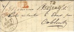 1836- Lettre Cursive De 72 / Septeuil  + Cad T13 De HOUDAN  + P.P.  Pour Coblentz ( Allemagne ) - 1801-1848: Precursors XIX