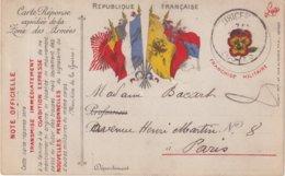 FRANCE : CARTE FM  . DRAPEAUX . CARTE REPONSE EXPEDIEE DE LA ZONE DES ARMEES . - Poststempel (Briefe)