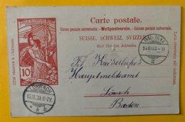 9155 - Jubilé UPU 10 Ct Carmin Basel 14.11.1900 Pour Lörrach !! Trou D'épingle Dans Le Centre - Entiers Postaux