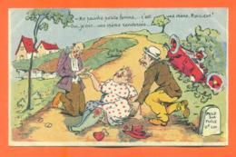 """CPA à Texte  Illustrateur à Identifier """" Accident De Voiture - Femme Forte """" - 1900-1949"""