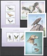 D476 ANGOLA FAUNA BIRDS OF PREY AVES DE RAPINA !!! 3BL+2KB MNH - Águilas & Aves De Presa