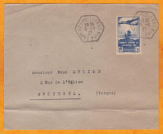 1937 - YT N° 320 Seul Sur Enveloppe De Seppois Le Bas, Haut Rhin Vers Bruyères, Vosges - Cad Arrivée - Poststempel (Briefe)