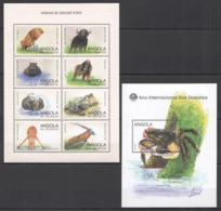 D478 ANGOLA FLORA & FAUNA WILD LARGE GIANT ANIMALS YEAR OF OCEAN CRABS KB+BL MNH - Briefmarken