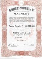 Papeteries Steinbach & Cie - Malmedy - - Actions & Titres