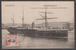 Cpa Souvenir Orénoque Paquebot Français Des Messageries Maritimes Avec Timbre Indochine 1920 Saigon - Paquebots