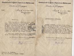 FRANCE 1935  Trains  Chemins De Fer PLM   2 Bons Demi Tarif A.R. Paris St Pons Le Pin Le 04.10.1935 - Ferrovie