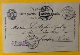 9164 - Bornand-Mutrux Fabr échappement Auberson 04.03.1890 Pour Sentier - Entiers Postaux
