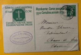 9166 -  Horlogerie Favre & Dietrich Neuveville 16.10.1913 - Entiers Postaux