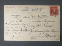 France Semeuse 10c. Rouge PERFORE AV Sur CPA 1909 - (B2606) - 1877-1920: Semi-Moderne