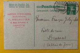 9167 -  Horlogerie C.Dégallier Genève 21.07.1910 - Entiers Postaux