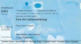 """Konstanz Eintrittskarte 2019 Theater Konstanz """"Eine Art Liebeserklärung""""  + Werbung Landesgartenschau Überlingen - Eintrittskarten"""