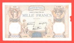Lot De 2 Billets 1000 Francs Ceres Et Mercure Avec Défauts Mais Bel Aspect 1937 Et 1940 - 1 000 F 1927-1940 ''Cérès Et Mercure''