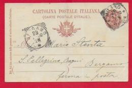 CARTOLINA POSTALE VG - 1895 Umberto I° Ovale - 10 C. - U. CP 25 - 9 X 14 - 1900 MILANO BERGAMO MILLESIMO 99 - Entero Postal