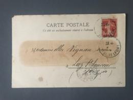 France Semeuse 10c. Rouge PERFORE DMC Sur CPA 1913 - (B2610) - 1877-1920: Semi-Moderne