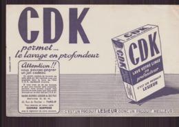 """Buvard ( 21 X 13.5 Cm ) """" CDK, Lesieur  """" Permet Le Lavage En Profondeur ...( Pliures, Rousseurs ) - Produits Ménagers"""