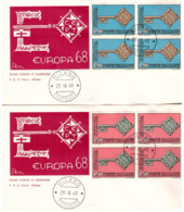 2 Fdc Flavia: EUROPA 1968; Quartine No Viaggiata; AF_Milano - 6. 1946-.. Republic