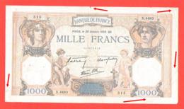 Lot De 2 Billets 1000 Francs Ceres Et Mercure Bel état 1938 Et 1939 - 1 000 F 1927-1940 ''Cérès Et Mercure''