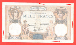 Lot De 2 Billets 1000 Francs Ceres Et Mercure Bel état 1938 Et 1939 - 1871-1952 Antichi Franchi Circolanti Nel XX Secolo
