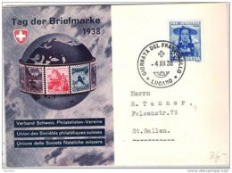 "Schweiz Suisse 1938: Bild-PK CPI ""Tag Der Briefmarke"" Mit O GIORNATA DEL FRANCOBOLLO 4.XII.38 LUGANO (Zu CHF 40.00) - Tag Der Briefmarke"