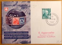 """Schweiz Suisse 1938: Bild-PK CPI """"Giornata Del Francobollo"""" O GIORNATA DEL FRANCOBOLLO 4.XII.38 LUGANO (Zu CHF 40.00) - Tag Der Briefmarke"""